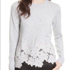 Ted Baker Gray Floral Embroidered Sweater Small
